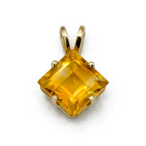 Petite Princess Cut Citrine Pendant